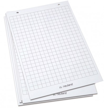 Paper for TableTop FlipChart, chequered, 5 pads